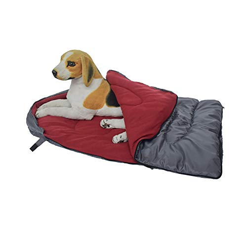 Lgreat Dog Slaapzak, Warmte Camping Huisdier Bedden Voor Honden Kat Burrow Deken Snuggle Waterdichte Machine Wasbaar Binnen Buiten, 45.2 x 29 inches, Bourgondy