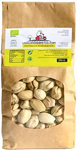 Pistacho Ecológico tostado con un toque de sal, cultivado en España (frutos secos naturales de agricultura ecológica, 500g de pistachos), de Losquesosdemitio
