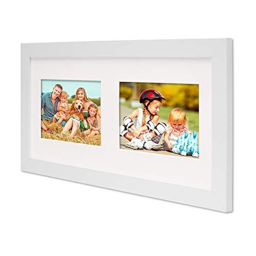 PHOTOLINI Fotocollage-Bilderrahmen Modern Weiss aus MDF Collagerahmen Bildergalerie-Rahmen für 2 Bilder 10x15 cm Wechselrahmen mit Passepartout