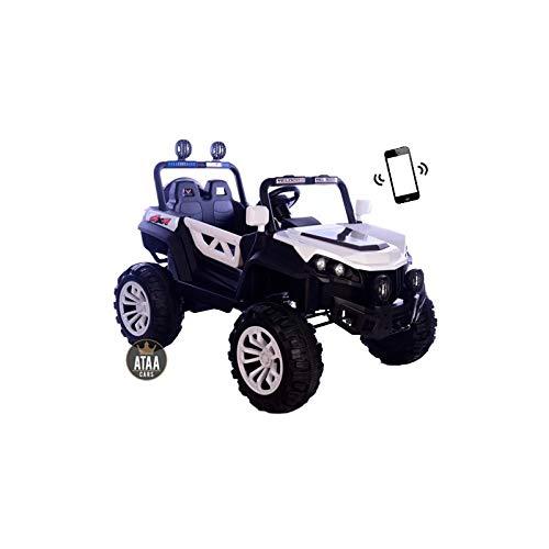 ATAA Buggy Rodeo 4x4 - Blanco - Coche eléctrico para niños con conducción remota dimeniones 126x86x81cm batería 12v y Dos Asientos