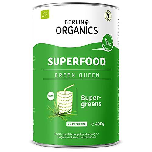 Green Queen - Bio Superfood Pulvermischung - Berlin Organics - Supergreens mit Vitamin B12 - Grüne Smoothie - Green Superfood - Greens Pulver