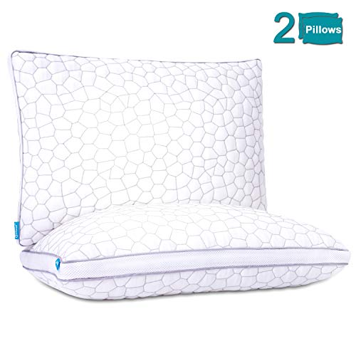 Qutool Shredded Memory Foam Cooling Pillows for Sleeping 2 Pack Bamboo Pillow with Adjustable Loft Hotel Collection Bed Pillow for Back and Side Sleeper with Hypoallergenic Derived Rayon Cover