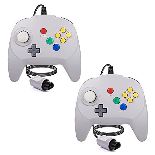 [Nueva versión] 2 paquetes para controlador N64, mando de juego para N64 – Plug & Play (versión USB no PC) (Joystick del Japón) gris