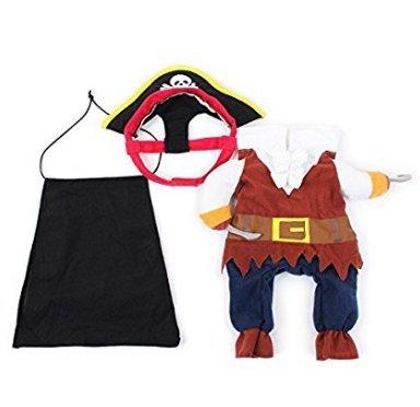 Sefon_Bwomen Funny Dog Pet Clothes Costume da Pirata Cat Costume da Pirata Corsair Dressing up Apparel Abbigliamento per Cani Cat Plus Hat S