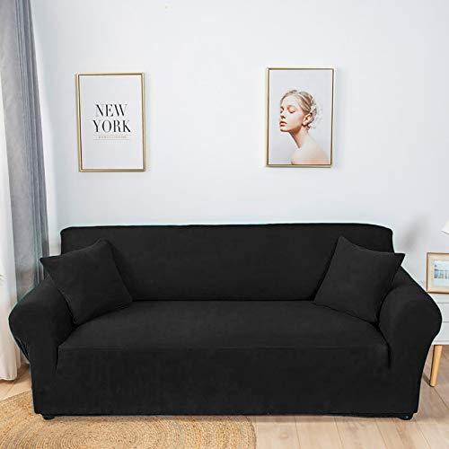 XQWZM Stretch Polyester Couch Abdeckung,Wohnzimmer Sofa-Abdeckung,Haustiere Hunde Sofa Slipcover,Sessel Couch Slipcover,Für Möbelschutz,1 Stück-Schwarz. 145-185cm(57-73inch)