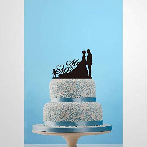 Mr & Mrs Cake Topper Custom Silueta Cake Topper con Novia y Novio de Niño Decoración de Pastel Personalizado Decoración de Pastel Divertida Decoración de Pastel