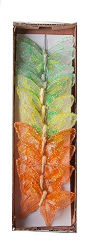 Yucheng Zierschmetterling Schmetterling Deko Bunte Schmetterlinge aus Stoff bemalt mit Glitzer, im 12er Set, Floristikbedarf Frühling/Sommer Gartenparty Hochzeitdeko Dekoartikel