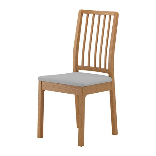 Unbekannt IKEA EKEDALEN Stuhl aus Eiche; Bezug Orrsta hellgrau