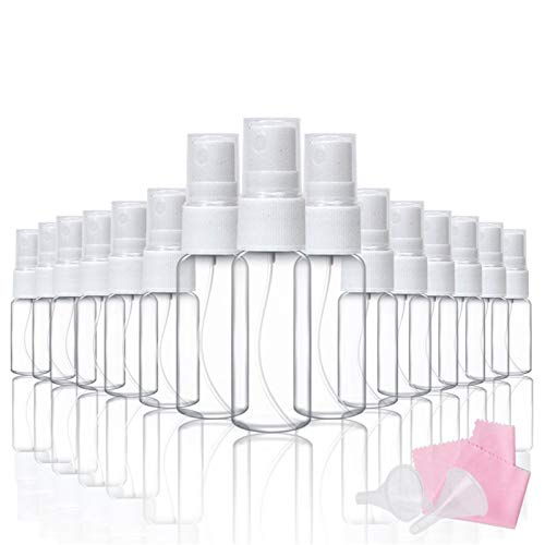 20pcs Spray Bottles Mist Plastic Mini Spray Bottlec(15pcs 10ml and 5pcs 20ml) with 2 Funnels and 1 Cleaning Cloth for Essential Oils Makeup and Perfume