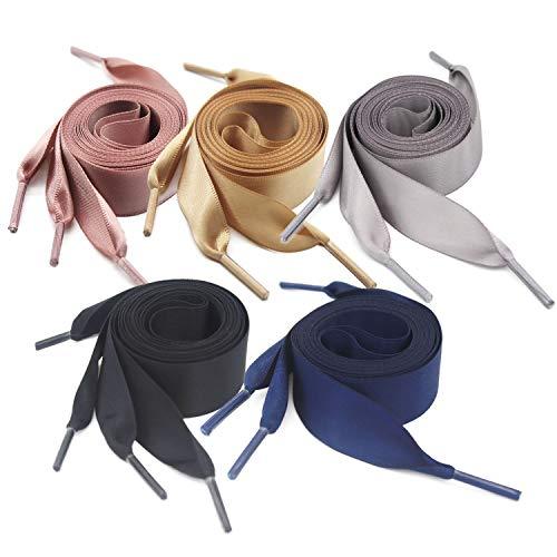 BEIFON 5 Paar 130cm*2cm Satin Flach Schnürsenkel 5 farbe Bunte Schuhbänder Senkel Flachsenkel Shoelaces für Sportschuhe Turnschuhe Freizeitschuhe Outdoorschuh (Schwarz/Weiß/Pink/Grau/Gelb)