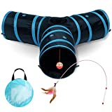All Prime Cat Tunnel - Also Included is a ($5 Value) Interactive Cat Toy - Toys for Cats - Cat Tunnels for Indoor Cats - Cat Tube - Collapsible 3 Way Pet Tunnel - Great Toy for Cats & Rabb (Blue)