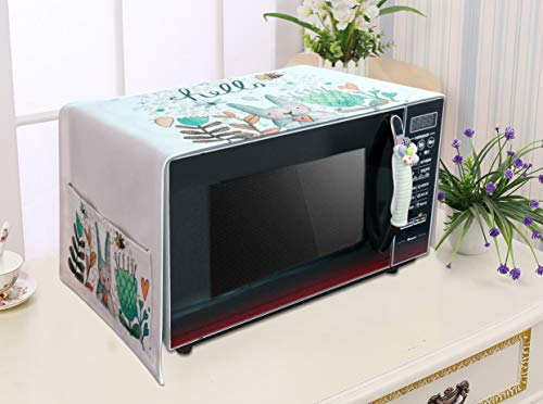 KEFAN Set of Microwave Dust Cover and Handle Cover, Fingerprint and Food Stains Protector for Toaster Broiler Oven Home Appliance (Bunny + Green)