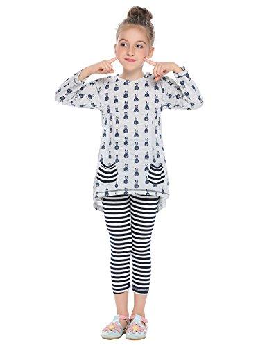 Arshiner Little Girls Clothing Sets Bunny Long Sleeve Outfits 2 PCS Top Leggings Pajamas Sets Grey