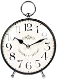 DYR Relojes de Mesa, decoración de Sala de Estar, Dormitorio, mesita de Noche, Reloj Despertador, Funciona con Pilas, sin tictac, silencioso, Vintage, Decorativo, Metal, Negro