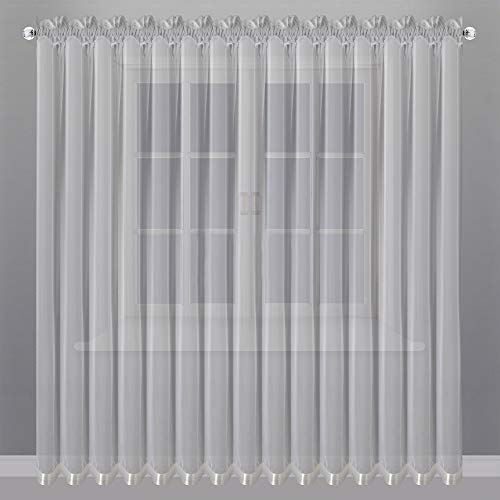 FKL Bonita cortina de gasa con cinta fruncida, color blanco, 250 x 400 cm, LB-81