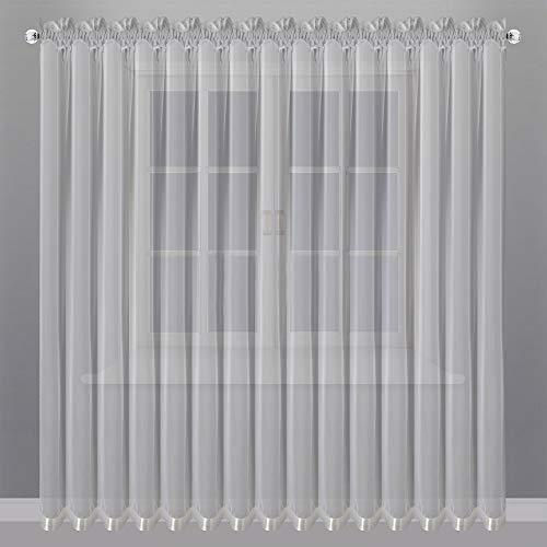 FKL Mooi kant-en-klaar gordijn venstergordijn gordijn van Voile met plooiband Store lang modern wit 250x400 cm LB-81