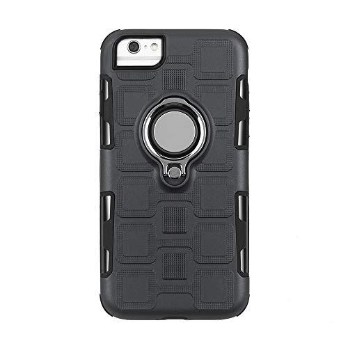 Compatible con iPhone 6S, funda Slim Fit Cover de silicona suave, anillo giratorio 360 grados, soporte magnético para el coche, carcasa rígida antideslizante Ceniza negra. Talla única