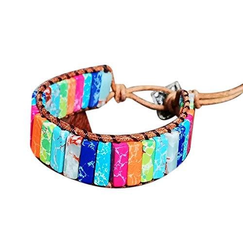 Camisin Fashion Handmade Multi Color Chakra Bracelet Jewelry Tube Beads Leather Wrap Bracelet Gifts Couples Bracelets