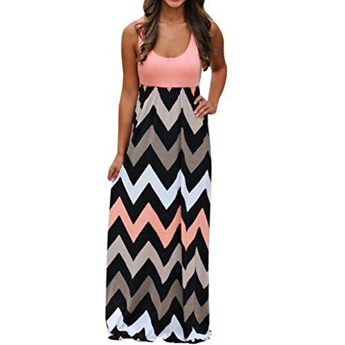 Fanteecy Women Summer Beach Boho Sleeveless Long Tank Dress Striped Floral Plus Size Maxi Party Sundress Orange
