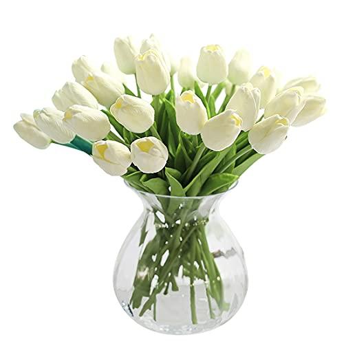 Justoyou, tulipani artificiali, in lattice a effetto realistico, per bouquet da sposa, matrimonio, casa, giardino, decorazione, Beige-10