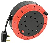Ex-Pro 10m Meter 4 Way Gang Mains Extension Lead Reel BS Approved HEAVY DUTY Thermal Cut Out 13A, ideal for...