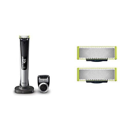Philips OneBlade Pro, Trimmen, Stylen, Rasieren / Präzisionskamm für 14 Längen QP6520/30, mit Doppelpack Klingen