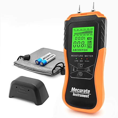 Mecurate Digital Pin Type Wood Moisture Meter, Moisture Detector 2 Mode 8 Calibration Large Backlit for Wood, Wall, Firewall