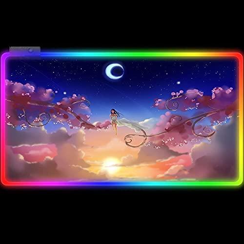 Alfombrillas de ratón Cutet Girl RGB Ratón Grande Rosa Cereza Azul Cielo Luna Extendido Alfombra De Escritorio De Computadora Larga Superficie Lisa Mejora La Velocidad 800x300mm