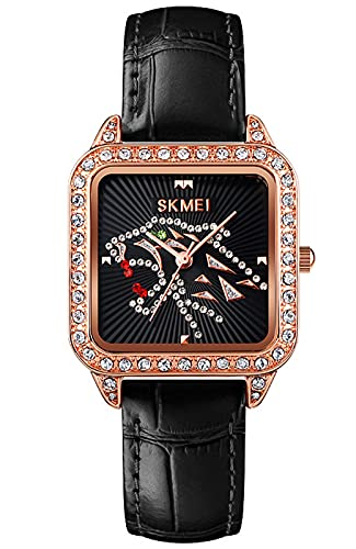 Reloj Analógico para Mujer Elegante Resistente al Agua Relojes de Pulsera Minimalista Relojes Cuadrado para Mujer (Negro Cuero)