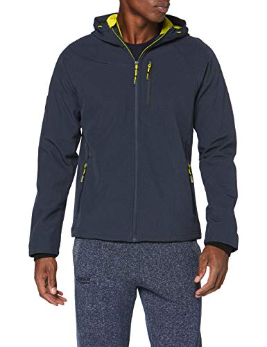 Superdry Herren Hooded Softshell Jacke, Blau (Navy Marl 97T), Large