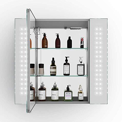 Armario de espejo del baño LED iluminado, toma de máquina de afeitar, diseño de aluminio, regulador de voltaje del LED,650 x 600mm