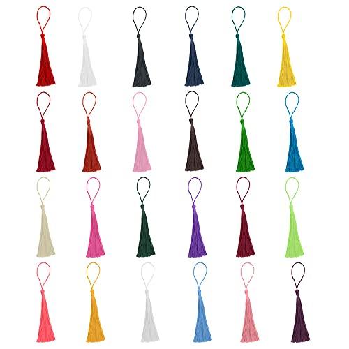 Lowats Borlas 240 Piezas Borla de Colores Mezclados Mini Flecos Borlas Decorativas Borlas de Flecos Decoracion con Bucle de Cuerda para Bolso Manualidades Llavero Joyas Proyectos de Bricolaje