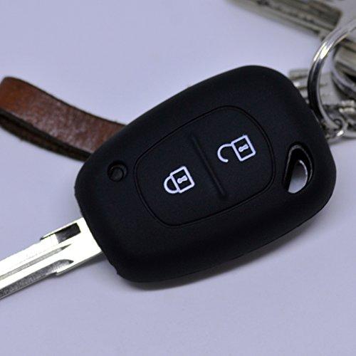 Soft Case Silikon Schutz Hülle Auto Schlüssel Schwarz kompatibel mit Renault Kangoo Trafic Master Primastar Opel Movano Vivaro Nissan Interstar 2 Tasten