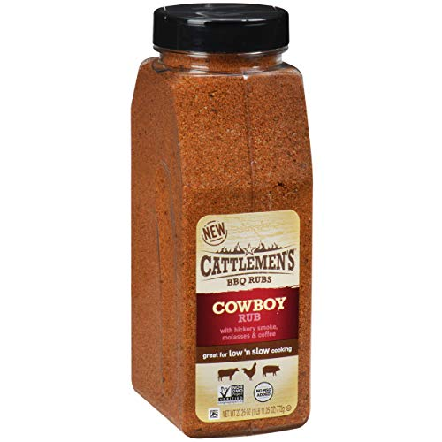 Cattlemen's Cowboy Rub, 27.25 oz - One 27.25 Ounce Container of Cowboy BBQ Rub with Hickory Smoke, Molasses and Coffee Flavor, Perfect for Brisket, Chicken or Beef