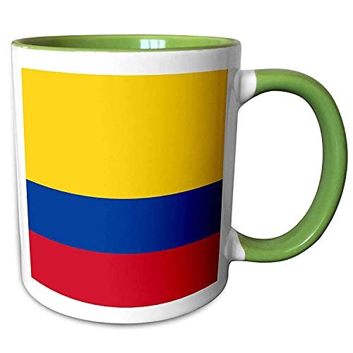NA Flaggen von Kolumbien Kolumbianisches Gold Gelb Blau Rote Streifen Patriotisches Südamerika Grün Lustige Kaffeetasse für Frauen Bürobecher Geschenke 11oz Keramikbecher Tasse