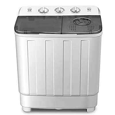 FitnessClub Portable Twin Tub Washing Machine 7.6 KG Total Capacity Washer And Spin Dryer Combo Compact For Camping Dorms Apartments College Rooms 4.6 KG Washer 3 KG Drying Black&White