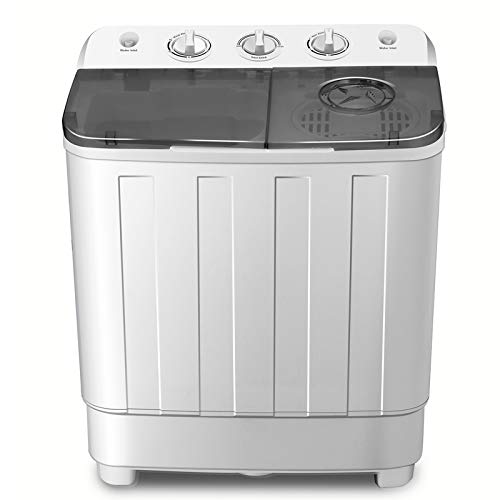 Portable Twin Tub Washing Machine 7.6 KG Total Capacity Washer And Spin Dryer Combo Compact For Camping Dorms Apartments College Rooms 4.6 KG Washer 3 KG Drying Black&White