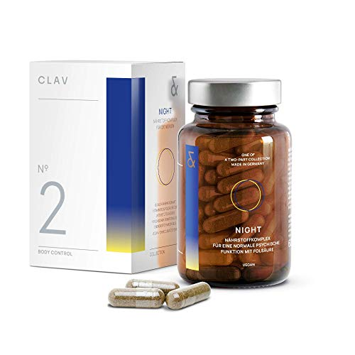 CLAV N°2 NIGHT Burn | Einschlafen mit Baldrian | enthält L-Tryptophan + Carnipure + Hopfen | Vitamin B12 | bei Keto Diät | 60 Kapseln Vegan