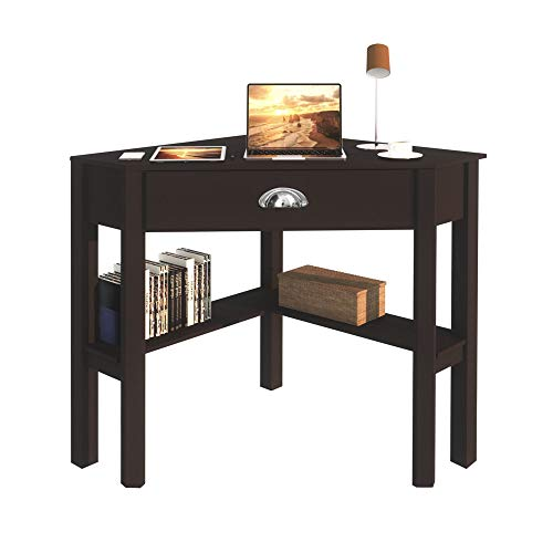 Computer Corner Desk for Home Office, Small Laptop PC Corner Table with Drawer and Shelves, Space Saver Desk Brown Triangle Desk
