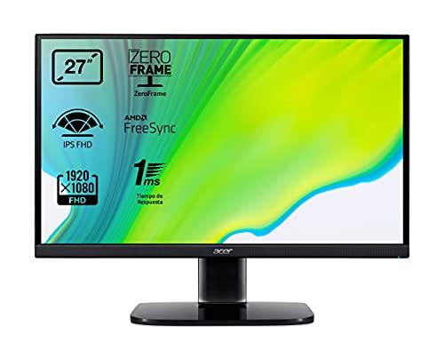 "Acer KA272bi - Monitor de 27"" Full HD 75 Hz (68,6 cm, 1920x1080, Pantalla IPS LED, ZeroFrame y FreeSync, 250 nits, Tiempo de Respuesta 1ms VRB, VGA, HDMI) - Color Negro"