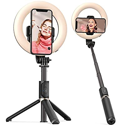 Selfie Ring Light with Tripod Stand and Phone Holder Artoful Selfie Stick with Bluetooth Remote and 3 Color Modes, 9 Adjustable Brightness for Tiktok, Makeup, YouTube and Vlogs by ARTOFUL
