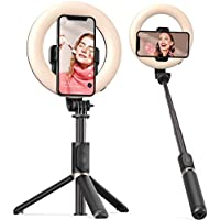 ARTOFUL Selfie Stick Ring Light with Tripod Stand and Phone Holder, Bluetooth Remote
