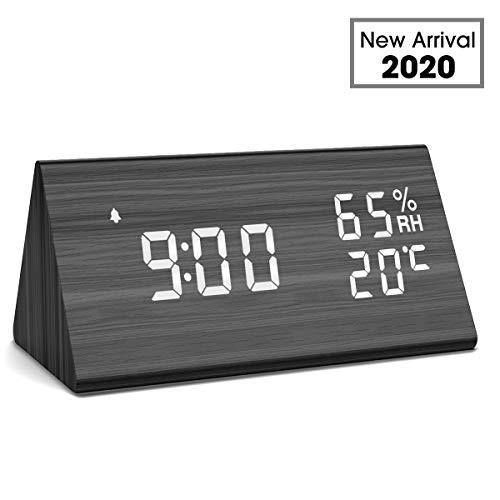 NBPOWER Wecker Digitaler LED Wecker Uhr Holz Standuhr, Digitalwecker Tischuhr mit Sprachsteuerung/Datum/Temperatur und Luftfeuchtigkeit, für Zuhause, Schlafzimmer, Nacht Kinder und Büro