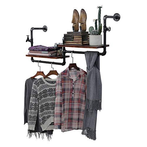 LING AI DA MAI Vintage kapstok oude houten buis en hanger ijzeren combinatie muur opknoping rek hanger, geschikt voor woon/slaapkamer/studie/kleding winkel zwart, zilver (120 cm)