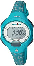 professional Timex TW5M07200 Iron Man Essential 10 Medium Ladies Watch with Turquoise Flower Resin Strap