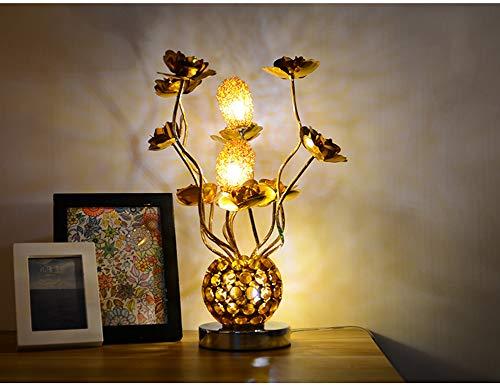 Lámpara de mesa de alambre de aluminio con diseño de rosas, lámpara LED para mesita de noche, 7 colores con luces decorativas, color dorado