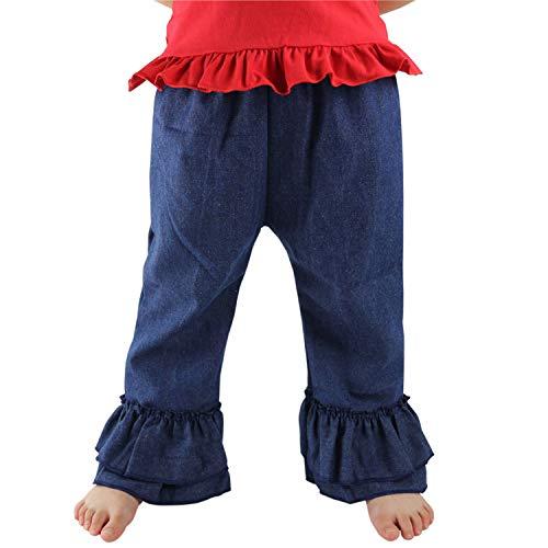 Wennikids Baby-Girls Denim Fancy Flare Pants Double Ruffles Pants 6m-8t