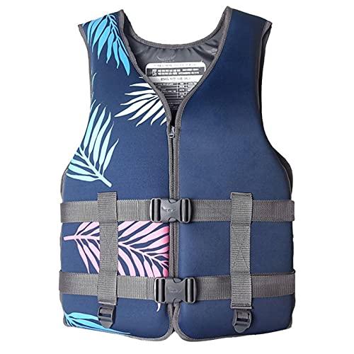 Chaleco de salvamento para adultos y niños, unisex, hinchable, para buceo, chaleco de salvamento ajustable para 30 – 110 kg, azul y XXL