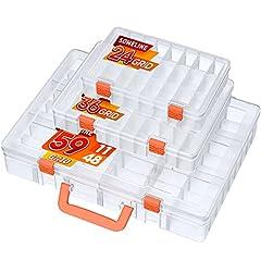 SOMELINE Boîte de rangement transparente en plastique pour outils de rangement - Compartiments réglables amovibles - Présentoir pour outils à sertir - 24 36 59 grilles