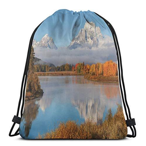 YUDILINSA Beutel Rucksack Kordelzug Turnbeutel,Herbst Schönheit in Grand Teton Oxbow Bend Natur Nationalparks Wyoming Landschaft,Unisex Sportbeutel Kordelzug Rucksack für Sport,Outdoor und Reisen
